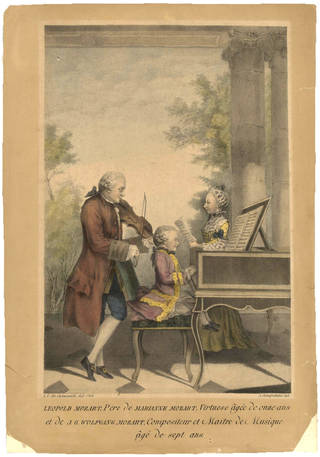 Hand coloured lithograph print of Leopold Mozart (playing the violin), father of Wolfgang Amadeus Mozart (playing the harpsicord), and his sister, Maria Anna (singing). Artist: Louis de Carmontelle, lithographer: A. Schieferdecker, 1764, Paris. Museum no. S.2928-2009. © Victoria and Albert Museum, London