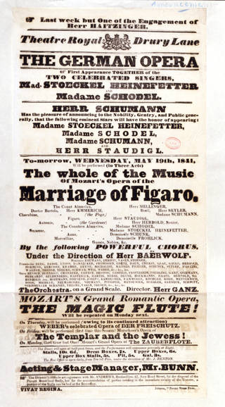 Printed playbill for Mozart's opera The Marriage of Figaro, Theatre Royal, Drury Lane, 1841, England. © Victoria and Albert Museum, London