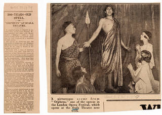 (Left) Newspaper review of Monteverdi's 'Orfeo', 29 December 1929. (Right) Newspaper cutting showing a performance of Monteverdi's 'Orfeo', 29 December 1929. © Victoria and Albert Museum, London