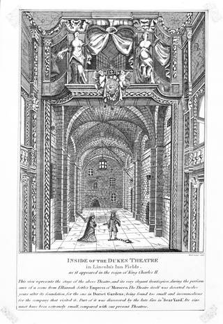 Engraved reproduction showing the interior of the Duke's Theatre, 1809. Museum no. S.2411-2009. © Victoria and Albert Museum, London