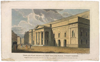 Engraving of the East Front of the New Theatre Royal, Covent Garden, Samuel Rawle, 1809, England. Museum no. S.1767-2013. © Victoria and Albert Museum, London