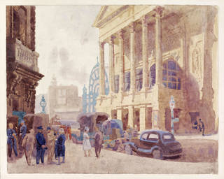 Watercolour of Covent Garden Opera House, The Colonnade, Walter Bayes, about 1940, England. Museum no. E.1762-1949. © Victoria and Albert Museum, London