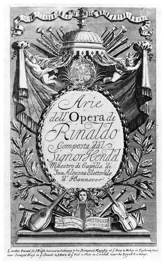 Front cover of music score  for Handel's opera Rinaldo, 1711, England. © Victoria and Albert Museum, London