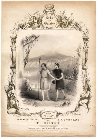 Front cover of music score for Handel's opera Acis and Galatea, published by Jefferys and Nelson, printed by M. & N. Hanhart, 19th century, England. Museum no. S.4253-2009. © Victoria and Albert Museum, London