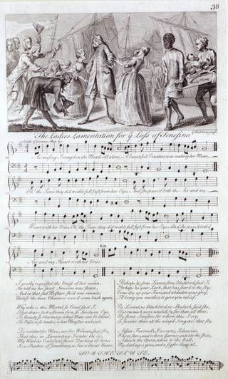 Sheet of printed music for The Ladies Lamentation for the Loss of Senesino, engraved by George Bickham Jnr, 1737 – 1738, England. Museum no. S.1137-1986. © Victoria and Albert Museum, London