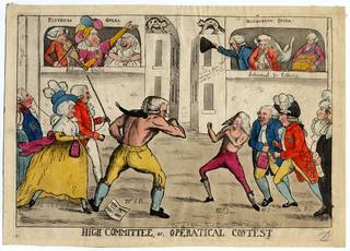 High Committee or Operatical Contest, colour engraving, engraved by Dent, published by James Aitken, 1791, England. Museum no. S.1817-2009. © Victoria and Albert Museum, London
