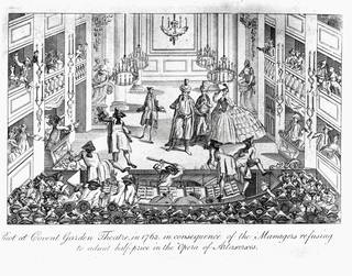 The Riot During the Opera Artaxerxes at Covent Garden Theatre in 1763, lithograph, early 19th century, England. Museum no. S.50-2008. © Victoria and Albert Museum, London