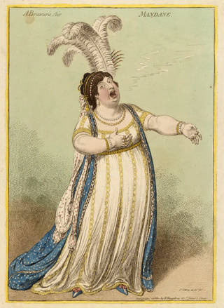 A Bravura Air, caricature of Elizabeth Billington, print, James Gillray, 1801, England. Museum no. S.26-2008. © Victoria and Albert Museum, London
