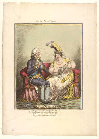 The Bulstrode Siren, caricature of Elizabeth Billington and the Duke of Portland, print, James Gillray, 1803, England. Museum no. S.213-2009. © Victoria and Albert Museum, London