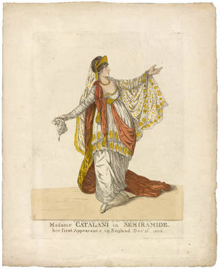 Angelica Catalani in Portogallo's opera Semiramide at King's Theatre, London, etching, Robert Dighton, 1806. Museum no. S.4672-2009. © Victoria and Albert Museum, London