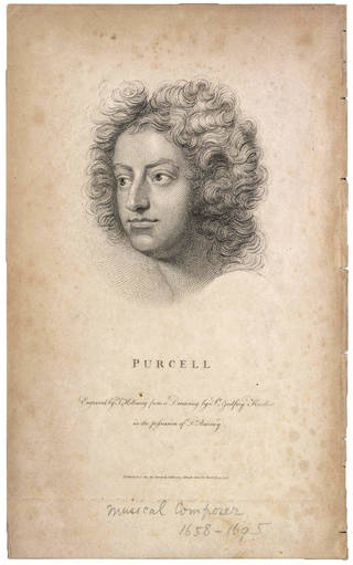 Portrait of Henry Purcell, engraving, Sir Geoffrey Kneller, 1798, England. Museum no. S.2017-2013. © Victoria and Albert Museum, London