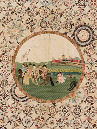 Photo of Bed cover (detail), unknown, about 1805, England. Museum no. T.9-1962. © Victoria and Albert Museum, London