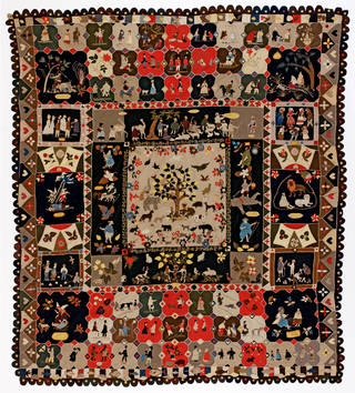 Photo of Patchwork hanging, Ann West, 1820, England. Museum no. T.23-2007. © Victoria and Albert Museum, London