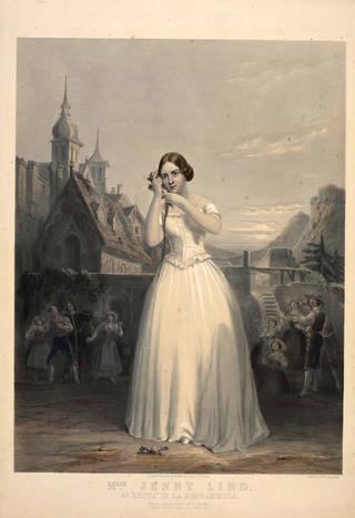 Jenny Lind as Amina in Bellini's opera La Sonnambula, lithograph, 1847, England. Museum no. S.202-2009. © Victoria and Albert Museum, London