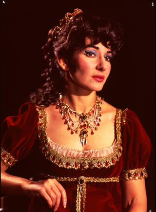 Photograph of Maria Callas as Floria Tosca in Act II of Puccini's opera Tosca at Royal Opera House, Covent Garden, 1964, England. © Victoria and Albert Museum, London