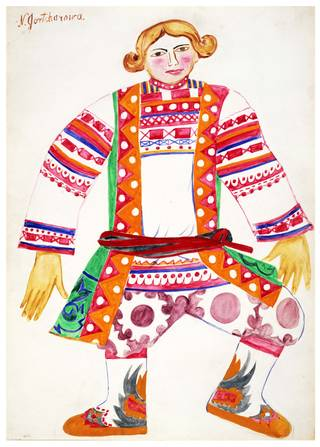 Costume design for a Russian Peasant in Rimsky-Korsakov's opera-ballet Le Coq d'Or, designed by Natalia Goncharova, 1914, Russia. Museum no. E.292-1961. © Victoria and Albert Museum, London