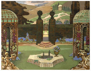 Design for the set of Clifford Bax's opera Midsummer Madness, designed by George  Sheringham, 1924, UK. Museum no. E.150-1969. © Victoria and Albert Museum, London