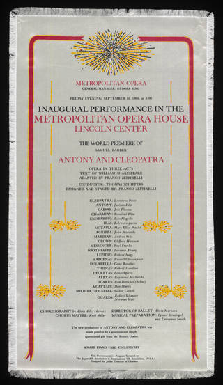 Silk programme for Samuel Barber's opera Antony and Cleopatra, Metropolitan Opera House, New York, 1966. Museum no. S.1666-2014. © Victoria and Albert Museum, London