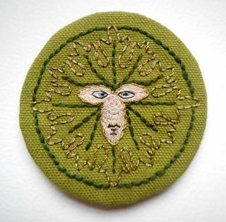 Opus Anglicanum: Green Man Embroidered Patch photo