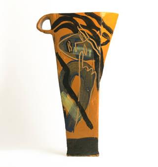 Earthenware jug, Bruce McLean, 1987, England. Museum no. C.98-1987. © Victoria and Albert Museum, London