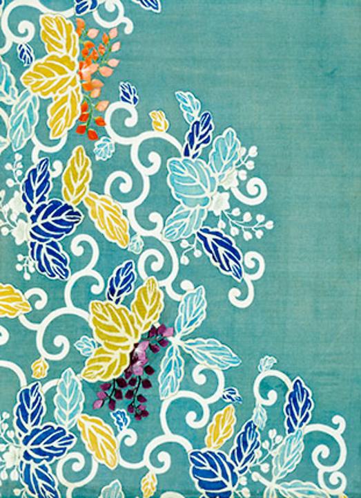 Silk textile fragment with floral scrolls (custom print)