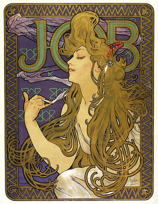 Photo of Poster advertising Job cigarette paper, Alphonse Mucha, 1898. Museum no. E.260-1921. © Victoria and Albert Museum, London