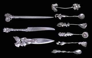 Photo of Set of two paper knives, fruit knife and six coffee spoons, Prince  Bojidar Karageorgevitch, about 1900, France. Museum no. CIRC.140 to 149-1964. © Victoria and Albert Museum, London