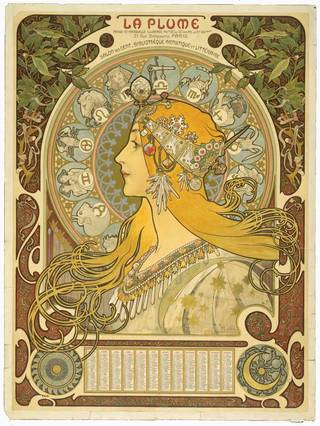 Photo of Poster advertising La Plume, Alphonse Mucha, 1897, France. Museum no. E.589-1953. © Victoria and Albert Museum, London