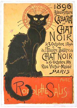 Photo of Cabaret du Chat Noir, poster, designed by Théophile Alexandre Steinlen, printed by Charles Verneau, 1896, France. Museum no. E.321-1978. © Victoria and Albert Museum, London