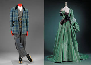 Left to right: Suit, Vivienne Westwood, about 1995, England. Museum no. T.37:1 to 3-2011. Watteau evening dress, Vivienne Westwood, 1996, England. Museum no. T.438:1 to 4-1996. © Vivienne Westwood/Victoria and Albert Museum, London