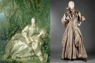 Left to right: Madame de Pompadour, Mistress of Louis XV, François Boucher, 1758, France. Museum no. 487-1882. © Victoria and Albert Museum, London. Anglophilia evening dress, Vivienne Westwood, 2003, England. Lent by the designer for the 2004 exhibition 'Vivienne Westwood'