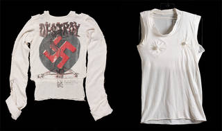 Left to right: Shirt, Vivienne Westwood and Malcolm McLaren, 1977, England. Museum no. T.773-1995. T-shirt, Vivienne Westwood and Malcolm McLaren, 1981, England. Museum no. T.240-1991.  © Vivienne Westwood and Malcolm McLaren/Victoria and Albert Museum, London