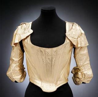 Photo of Corset and sleeves, Vivienne Westwood, 1988, England. Museum no. T.203:1 to 3-2002. © Victoria and Albert Museum, London