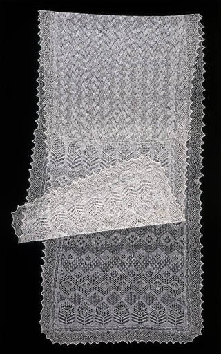 Photo of Shawl, Amy Johnston, 1935, Baltasound, Unst, Shetland islands, knitted shetland wool. Museum no. T.335-1980. © Victoria and Albert Museum, London