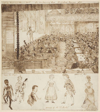 At an East End Music Hall – The Mahogany Bar – Wellclose Square, sketch, 1871. © Wilton's Music Hall
