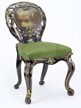 Papier mâché chair, possibly made by Jennens & Bettridge, about 1850, Birmingham, England. Museum no. W.3-1929. ©Victoria and Albert Museum, London