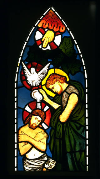 Baptism of Christ, panel, designed by Edward Burne-Jones, made by Morris, Marshall, Faulkner & Co., about 1862, England. Museum no. C.440-1940. © Victoria and Albert Museum, London
