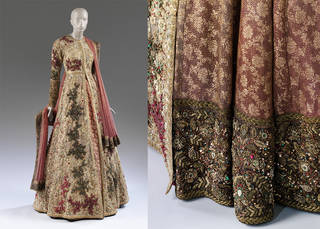 Woman's wedding outfit with detail showing base of the lengha (skirt) overlaid with kantha work, designed by Sabyasachi Mukherjee, 2015, India. Museum no. IS.66:1 to 7-2016. © Victoria and Albert Museum, London