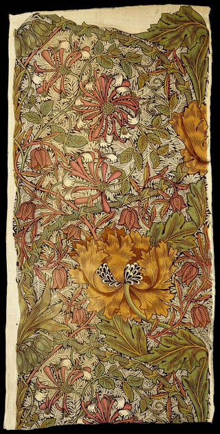 Honeysuckle, furnishing fabric, designed by William Morris, made by Wardle & Co., 1876, England. Museum no. CIRC.491-1965. © Victoria and Albert Museum, London