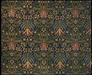 Lily, sample, designed by William Morris, manufactured by Wilton Royal Carpet Factory Ltd., about 1875, England. Museum no. CIRC.65B-1959. © Victoria and Albert Museum, London