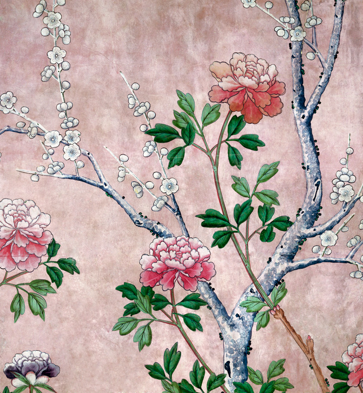 Wallpaper with peonies and cherry blossom flowers
