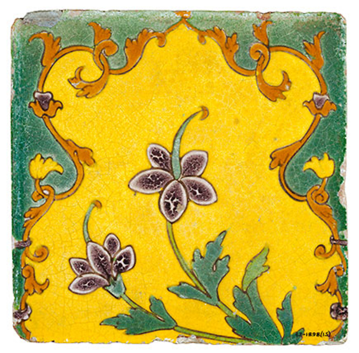 Mughal tile with arabesque form and flowers