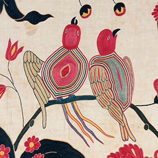 Wall hanging with birds on a branch of flowers