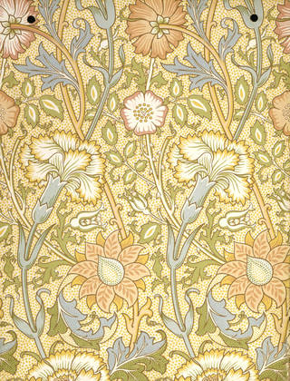 Pink and Rose wallpaper, designed by William Morris, manufactured by Jeffrey & Co., about 1890, England. Museum no. E.708-1915. © Victoria and Albert Museum, London