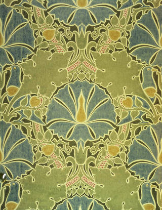 The Saladin wallpaper, designed by Charles Voysey, manufactured by Essex & Co., 1897, England. Museum no. CIRC.261-1953. © Victoria and Albert Museum, London