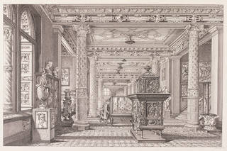 Drawing of the Ceramics Gallery, John R. E. Watkins, about 1876, England. Museum no. 8089B. © Victoria and Albert Museum, London