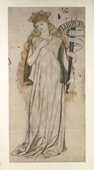 Photo of Drawing of Helen (Flamma Troiae), William Morris, about 1860, England. Museum no. E.571-1940. © Victoria and Albert Museum, London
