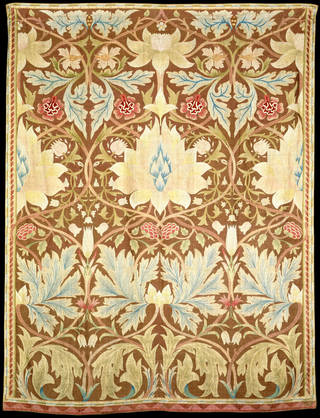 Photo of Lotus wall hanging, designed by William Morris, embroidered by Margaret Beale, 1875 – 1880, England. Museum no. T.192-1953. © Victoria and Albert Museum, London