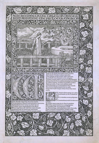 Print for 'Works of Geoffrey Chaucer', illustrated by Edward Burne-Jones, designed by William Morris, engraved by William Harcourt Hooper, 1896, England. Museum no. E.1255-1912. © Victoria and Albert Museum, London