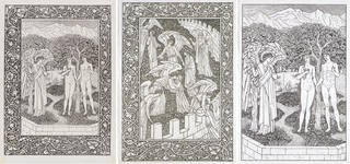 Golden Legend, wood engraving, designed by William Morris and Edward Burne-Jones, engraved by William Harcourt Hooper, printed by Kelmscott Press, 1892, England. Museum nos. E.1783-1920, E.1784-1920 and E.1782-1920. © Victoria and Albert Museum, London